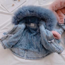OLEKID 2019 zima dziewczynka kurtka dżinsowa Plus aksamitna prawdziwe futro ciepły maluch dziewczyna odzież wierzchnia płaszcz 1