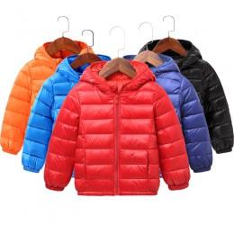 2019 jesień zima z kapturem dzieci dół kurtki dla dziewczynek cukierki kolor ciepłe dzieci dół płaszcze dla chłopców 2-9 lat odz