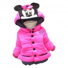 Duży rozmiar dziewczynek kurtki 2017 jesień zima kurtka dla dziewczynek zima Minnie płaszcz ubrania dla dzieci dzieci ciepłe kur