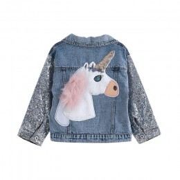 Jednorożec kurtka dżinsowa dla dziewczynek płaszcze odzież dziecięca jesień dziewczynek odzież wierzchnia kurtki dżinsowe i płas