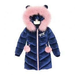 2019 nowa dziecięca puchowa kurtka zimowa dla dziewczynek zagęścić dziewczyny zimowy płaszcz z kapturem welurowe zimowe dziewczę