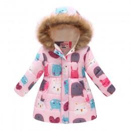 Zimowe dziewczyny ciepłe kurtki puchowe dzieci nadrukowana moda gruba odzież wierzchnia odzież dziecięca jesień dziewczynek ślic