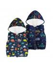 Tańsze jesienne zimowe ciepłe dziecięce kamizelki dla chłopców tęcza w stylu kreskówki dinozaur odzież wierzchnia bez rękawów z