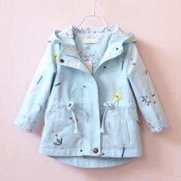 2019 nowa wiosna jesień dziewczyny wiatrówka płaszcz dziecko dzieci haft w kwiaty odzież z kapturem dla dzieci dzieci płaszcze k