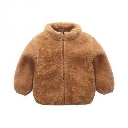 2019 zima nowe dziewczyny pluszowy ciepły płaszcz polar ciepły korowód strona ciepła kurtka Snowsuit 1-5Y dziecko płąszcz zapina