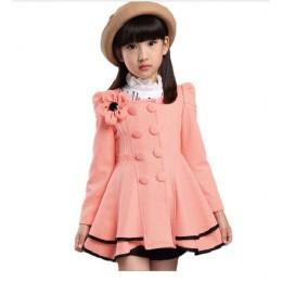 Gorące nowe dziewczęce ubrania dziecięce płaszcze dla dziewczynek kwiatowe kurtki na wiosnę jesienne ubrania dla dzieci dwurzędo