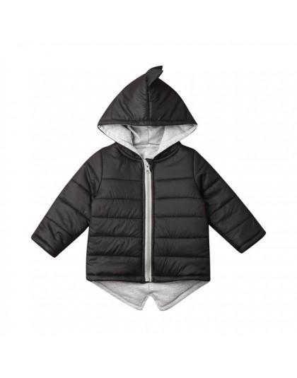 1-7T dzieci maluch dziewczynka chłopiec bluza z kapturem zamek gruby płaszcz zimowy ciepła kurtka 3D dinozaur znosić płaszcze ku