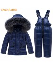 2019 nowa zimowa Baby Boy dziewczyna odzież zestaw ciepła ocieplana kurtka płaszcz Snowsuit dzieci parka ubrania dla dzieci komb