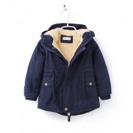 Nowe zimowe dzieci w dół i parki 2-9Y europejski styl chłopcy dziewczęta ciepłe kurtki kolor zielony niebieski płaszcze z kaptur