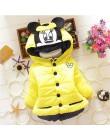 2018 zimowe dziewczyny ciepłe kurtki dzieci odzież dla dzieci płaszcz dziewczyny Minnie Cartoon kurtka z kapturem dla 1-5 lat dz