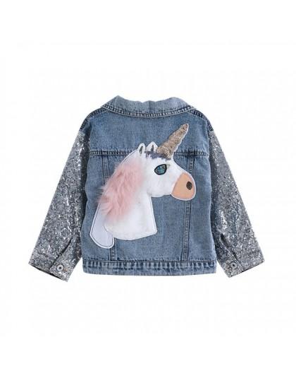 Nowy 2020 dziecięca kurtka dżinsowa dla dziewczynek śliczne jednorożec płaszcze kurtka dżinsowa dla dzieci dziewczyny ubrania ku