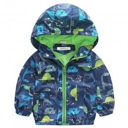 COOTELILI 80-120cm wiosna jesień dinozaur wiatrówka kurtka dla dzieci chłopcy odzież wierzchnia płaszcz z kapturem dla dzieci od
