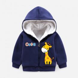Dzieci chłopcy dziewczęta ciepła kurtka z kapturem kurtka plus aksamitna dziecięca bawełniana kurtka jesień zima znosić infantil