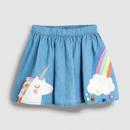 Mały maven 2019 nowa letnia dziewczynka ubrania zwierząt tęczowy haft bawełna krótka spódniczka S0498