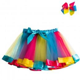 Letnia spódniczka Tutu dziewczynka spódnice księżniczka Mini Pettiskirt urodziny tęczowa opaska jednorożec spódnica dziewczyny u
