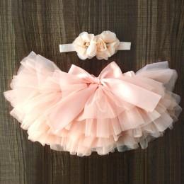 Dziewczynek Tulle Bloomers niemowlę noworodka Tutu pieluchy okładka 2 szt. Krótkie spódniczki + zestaw opasek tutu spódnica spód