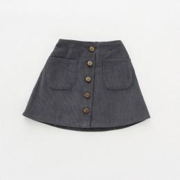 2019 New Arrival spódniczki dziewczęce jesienne zimowe guziki dla dzieci ubrania dla dzieci sztruksowe spódnice Baby little Girl
