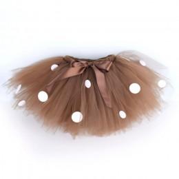 Deer kostium brązowy włochata spódnica tutu dla dziewczynek urodziny dziecka Party kropki spódnica kostium na halloween taniec s