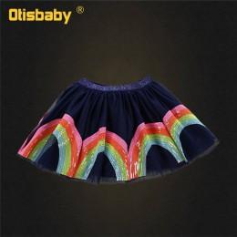 Moda dziewczyna drukuj motyl jednorożec Tutu spódnica z tiulu dla dziewczynek Rainbow cekiny spódnice dzieci taniec woal Tutus d