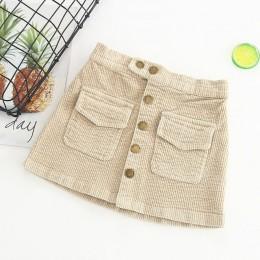 Jesienno-zimowa koreańskie dziewczynek spódnica sztruksowa dorywczo bawełna elastyczna maluch dzieci aksamitne spódnice 2-7 lat