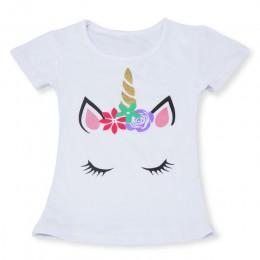 2019 moda lato Unisex jednorożec T-shirt dzieci chłopcy krótkie rękawy białe koszulki dziecięce dzieci bawełniane topy dla dziew