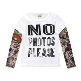 Nowość tatuaż z długim rękawem dla dzieci t-shirty z bawełny chłopcy T Shirt dla dzieci TShirt jesień dla dzieci dziewczyny topy