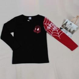 Dla dzieci chłopcy koszulki z krótkim rękawem dla dzieci kreskówka spiderman z długim rękawem T-shirt dziecko patchworkowe ubran