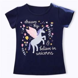Maluch dzieci dziewczyny impreza jednorożec topy letnie koszulki z krótkim rękawem dla dziewczyny ubrania koszulka na co dzień 3
