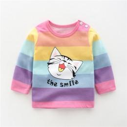 Unisex 6 M-5 T jesień zima bawełna T koszula kreskówka z długim rękawem dla dzieci chłopcy dziewczęta koszulki dzieci dzieci odz