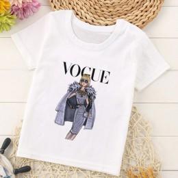 Vogue nowy nabytek księżniczka drukuj dzieci T Shirt śmieszne Kawaii Cartoon dziewczyna Top Harajuku biały wokół szyi krótkie rę