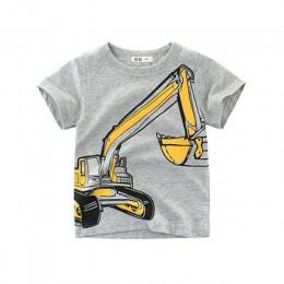Loozykit 2-10Y nadruk kreskówkowy chłopcy transport T Shirt lato niemowlę dzieci chłopcy dziewczęta modne t-shirty ubrania baweł