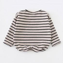 9 M-3 T wiosna jesień dziewczynek chłopców koszula z długim rękawem w paski topy miękka bawełna maluch dzieci T-Shirt ciepłe mod