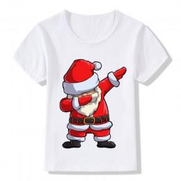 Dzieci dziewczyny chłopcy śmieszne świąteczne koszulki ubrania dla dzieci święty mikołaj T Shirt dzieci odzież topy Tshirt T-shi