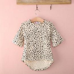 Śliczny pół rękawa wzór w cętki T shirt Top dla dziewczynek