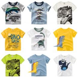 Chłopcy i dziewczęta t-shirty z kreskówek t-shirty z nadrukiem dinozaura dla dzieci T-shirt z krótkim rękawem dla dzieci