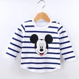 Dla niemowląt chłopcy dziewczęta bawełniane topy w paski jesień z długim rękawem Cartoon koszulki wiosna odzież dla dzieci T Shi