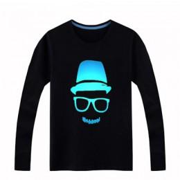 2018 Luminous z długim rękawem T-Shirt dla chłopców T Shirt Batman boże narodzenie nastoletnia dziewczyna topy 3-15 lat Teenage