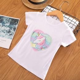 Dziewczynka jednorożec t-shirt topy dziewczynka T-shirt duże dziewczynki koszulki dzieci dziewczyna 3-8 lat letnie krótkie rękaw