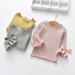 Bawełna długi, rozszerzony rękaw dziecięcy T-Shirt wiosna jesień dziewczyny koszule dziewczyna dzieci dziecko maluch topy dzieci