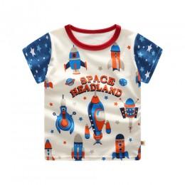 Odzież dziecięca koszulki dziecięce rakiety kosmiczne drukuj dzieci topy dla małego chłopca koszulka z krótkim rękawem letnia ko