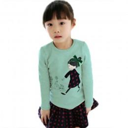 T-shirt z długim rękawem dla dziewczynek maluch ubrania dla dzieci dziewczynek nadruk kreskówkowy jesień t-shirty Casual topy Te