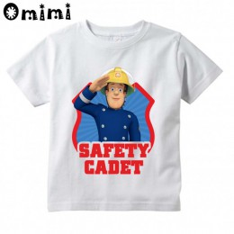 Dzieci Sam strażak strażak projekt T Shirt chłopcy/dziewczęta wielki Kawaii z krótkim rękawem topy śmieszny t-shirt dla dzieci,