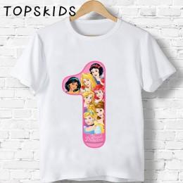 2019 dzieci szczęśliwy numer urodzinowy 1 ~ 9 drukuj Cartoon t-shirty chłopcy i dziewczęta Cute Princess Fairy Funny t-shirt na