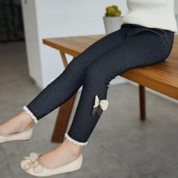 Wysokiej jakości grube ciepłe zimowe spodnie dżinsowe łuk dziewczyny legginsy spodnie dla dzieci spodnie dla dzieci