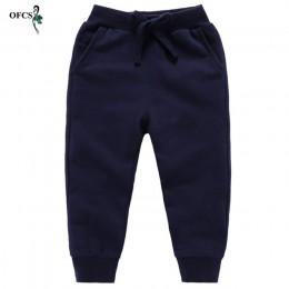 Detal nowe spodnie bawełniane dla 2-10 lat jednakowi chłopcy dziewczęta dorywczo spodnie sportowe Jogging Enfant Garcon dziecięc