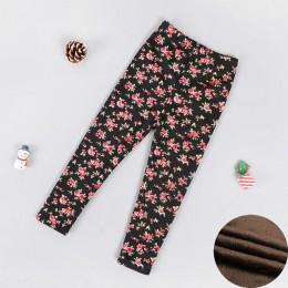 Jesienne zimowe legginsy dla dziewczynki 2019 grube ciepłe kropki spodnie Kid Girl Leopard Plus aksamitne spodnie dziecięce kwia