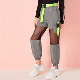 SHEIN Kiddie dziewczyny Neon klamra wstawka z siatki wiatr popędzający Cargo spodnie dla dzieci 2019 jesień szary elastyczny pas