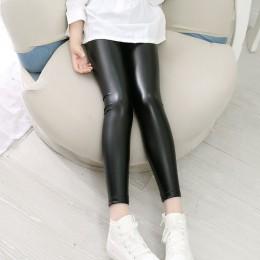 Wysokiej jakości dziewczęce Faux skórzane legginsy spodnie dla dzieci skórzane spodnie dziewczęce