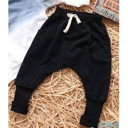 Dziecięce ubrania jesienno-wiosenne dziewczęce spodnie spodnie dziecięce dla chłopców harem spodnie jednolite kolory czarna szar