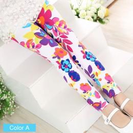 SLAIXIU miękkie dziewczyny legginsy dziewczynka ubrania ołówek spodnie bawełniane spodnie dla dzieci drukuj kwiat Skinny dzieci